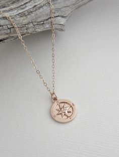 Rose Gold Compass Necklace | Graduation Gift for Her MarciaHDesigns | Handmade Jewelry