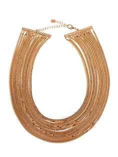 Katie Maloney Multi Row Gold Chain Statement Necklace