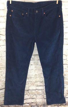 "Levi's 514 Straight Leg Corduroy Pants Size 34 Men's Navy Blue 5 Pocket 29"" EUC #Levis #Corduroys"