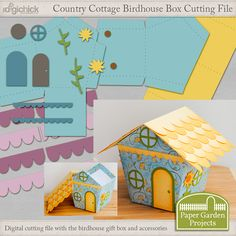 The perfect little birdhouse box digital cutting file to make a gift extra special. The box can also be sealed to make cute home decor items. Choose papers to customize it for your needs. It can even be scaled down and used as a Christmas ornament.
