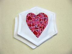 Appliqued Heart Coasters, $8.00 CAD