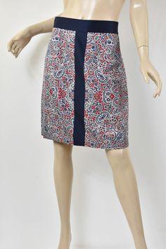 612909fdbd BROOKS BROTHERS Gorgeous Red & Navy Paisley Print 100% Silk Pencil Skirt  M 10