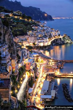Amalfi by night, Italy. A wonderful place to daydream about :) Can't wait @Hilary S S S Barrella