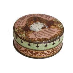 Boîte de bonbon en métal ronde : Location de décoration vintage