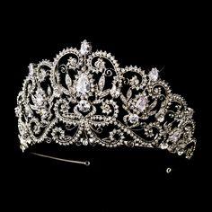 "Dazzling Rhinestone and CZ Wedding and Quinceanera Tiara - 3 1/2"" Tall - Affordable Elegance Bridal -"