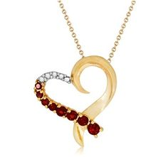 $9.99 - 1/2 Carat Garnet Pendant in 18K Gold Over Sterling Silver