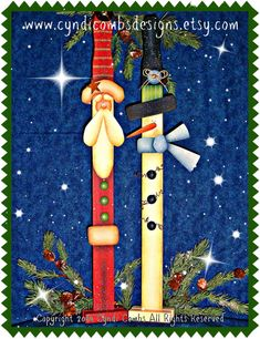 CC145 Santa and Snowman Paint Sticks  por CyndiCombsDesigns en Etsy