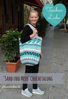 Taschen Crochetalong Teil 5 fertige Tasche mit Henkeln Endbild schoenstricken.de