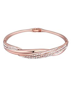Look what I found on #zulily! Swarovski® Crystal & Rose Gold Hinge Bracelet #zulilyfinds