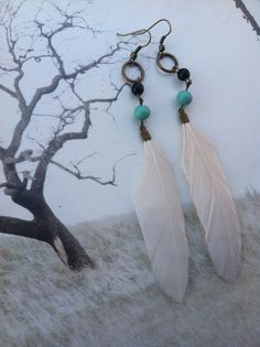 White and Turquoise Native Feather Earrings