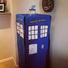 Homemade TARDIS bird cage cover.