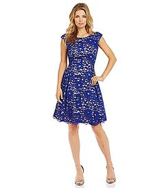 Eliza J Lace CapSleeve Fit and Flare Dress #Dillards