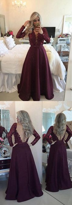 2018 Purple Prom Dress With Long Sleeves, Sequins A-Line Evening Dresses,HS176  #weddingdress#fashion#shopping#promdress#eveningdress#promgowns#cocktaildress