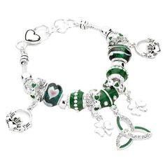 Celtic Bracelet Claddagh Z2 Irish Shamrock Clear Crystal Green Murano Glass Bead Silver Tone -- Want to know more, click on the image.