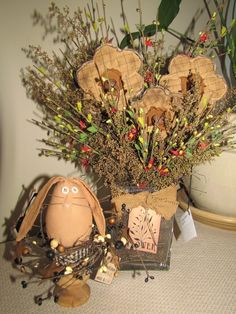 Primitive wooden bunnies   Old wooden egg holders are not just for eggs ...   Primitive Easter a ...