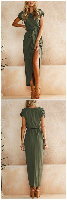 Army Green Short Sleeves Splited Hem Maxi Dress