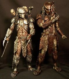 Scar & Chopper Predators from AVP. Very nice! but these predators as well as the predator family in general need increased body armor coverage and improvements in body armor aesthetics for a complete or at least a more complete overall design!