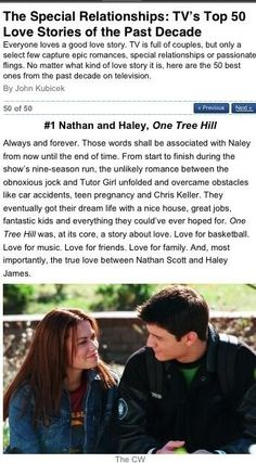 TV's #1 Couple Not being biased, but I completely agree. Nathan and Haley is one of the reasons why One Tree Hill is my favorite show of all time.