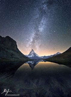 Under a million stars by Mario Spalla Landscape Photography, near Riffelsee Lake (the Matterhorn. Swiss Alps), Sept. 2012