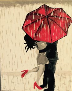 Love in the rain under an umbrella
