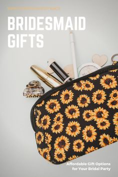 Vibrant sunflower cosmetic bag for your bridal party gifts for bridesmaids. Add these fun bridesmaid makeup bags to your bridesmaid proposal gifts or to say thank you to your bridesmaids after your wedding. They can carry the coordinated bags to use while getting ready for your big day! Large sunflower makeup bag is the perfect size for travel or every day use. Trendy design makes a great fashion accessory. Affordable price won't break the bank. Sunflower gifts just to say thank you! Will You Be My Bridesmaid Gifts, Bridesmaid Proposal Gifts, Bridesmaid Makeup Bag, Bridesmaids, Bachelorette Party Planning, Newborn Fashion, Sunflower Gifts, Sunflower Pattern, Camo Baby Stuff
