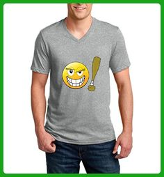 Ugo Cute Emojies Baseball Bat Gift for BFF Birthday Christmas School Party Ringspun Men V-Neck T-Shirt - Birthday shirts (*Amazon Partner-Link)