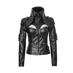 Gothic Punk Rock Cyber Military Leather Look Black Jacket Y 626 107342