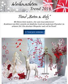 """Endecken Sie die #Weihnachtstrends 2016: Diese Woche präsentieren wir das Themna """"Beton & Holz""""! #Weihnachtsdeko #Dekoration http://shop.decowoerner.com/cgi-bin/WebObjects/XSeMIPS.woa/cms/page/locale.deDE/pid.4738/mlid.2013/NL-2016-09-27-WeihnachtsTrends2016-AI.html"""