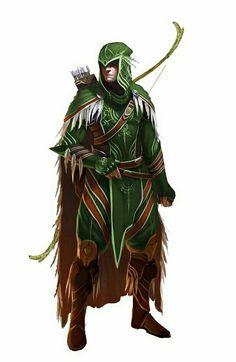 Elf Male Ranger - Pathfinder PFRPG DND D&D d20 fantasy