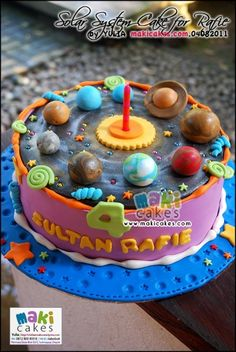 Solar System & Planet Cake for Rafie - Maki Cakes by *Yulia* Birthday Party Images, Birthday Cake, 4th Birthday, Just Cakes, Cakes And More, Beautiful Cakes, Amazing Cakes, Fondant Cakes, Cupcake Cakes