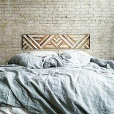"Reclaimed Wood Wall Art, Queen Headboard, Wood Wall Decor, Geometric Triangle Pattern, 60"" x 12"""