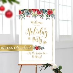 Holiday Party Welcome Sign Merry Christmas Sign, Christmas Poster, 24 X 36 Posters, Floral Theme, Photo Booth Props, Party Signs, Print Store, Christmas Printables, Wedding Programs