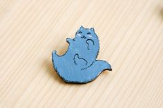 Cat fluffy cute animal badge brooch pin wooden wood painted gift present idea
