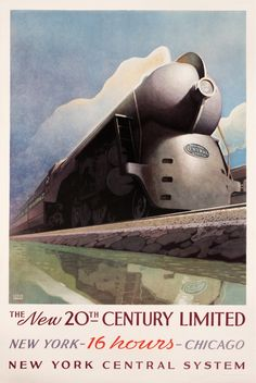 New York Central System 20th Century Limited, by Leslie Darrell Ragan (1897-1972).