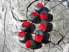 8 True Red & Metallic Black Organic Glass Block by GlitzArtGlass, $30.00