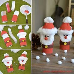 {DiY} Santa Retrieval Version in cardboard roll ! - Crafts for children - noel Christmas Crafts For Kids, Christmas Activities, Simple Christmas, Kids Christmas, Holiday Crafts, Holiday Decor, Father Christmas, Funny Christmas, Thanksgiving Decorations