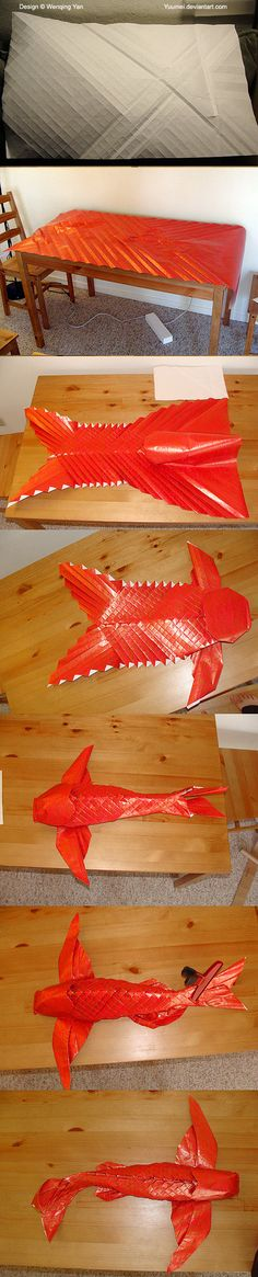 YUUMEIART.COMFACEBOOKTUMBLRTWITTERPIXIVYOUTUBE This origami winged koi is an original design by yours truly (folded from an uncut piece of 8.5 by 14 inch printing paper) Here's a vague process if y...