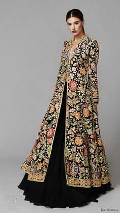 jani khosla 2015 bridal evening dress long sleeves exotica shalwar kameez lehenga embroidered velvet jacket gold gota multicolor resham