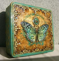 deququ декупаж: коробка с бабочкой