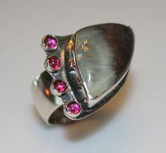 Prehnite ring - rubellite ring - black and white ring - oxidized gemstone ring…