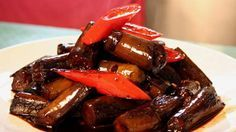 Shanghai-style stir-fried eggplant with garlic and soy sauce recipe : SBS Food