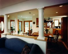 Remove load bearing wall and supports with decorative (structural) columns