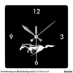 Ford Mustang on Black Background Square Wall Clock  #Ford #Mustang #Black #Background #Square #WallClock #logo #fordmustang #horse #animals #zazzle #time #clock