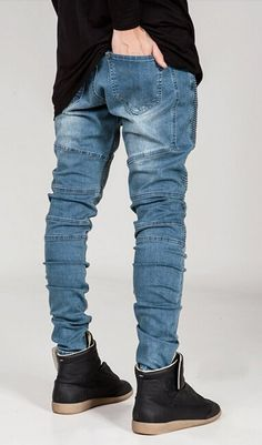 87d7bfb6e80d Mens Skinny Runway Distressed Slim Denim Biker Jeans Hiphop Pants at Amazon  Men s Clothing store
