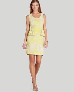 BCBGMAXAZRIA Dress - Etna Lace Print Peplum  Bloomingdale's