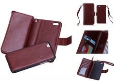 (Case for Apple iPhone 6 Plus/5.5 inches) Bon Venu Versatile Business Wallet Purse style Synthetic£¨Faux)leather material Crazy Horse series Pu Back Cover Magnetic detachable removable Case 2 Kickstands Wallet 9 Cards Slot and Wallet cards Slot with Dark cell Pouch Multi-function Wallet Phone Case for iPhone 6 Plus/5.5 inches+Screen Protector (Brown). Elegant Wallet Design for with Holders for credit card cash holder provide credit Card Slots Wallet sandwiched. Specifically Vintage…