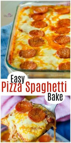 Super easy pizza spaghetti bake is the recipe cheesy comfort foodies love! It's also a recipe busy moms love because it's incredibly easy and requires one dish. After dinner clean-up is a breeze! Enjoy this spaghetti pizza bake that pizza and spaghe Easy Casserole Recipes For Dinner Beef, Dinner Recipes Easy Quick, Quick Easy Meals, Pizza Recipes, Great Recipes, Cooking Recipes, Favorite Recipes, Pepperoni Recipes, Amazing Recipes