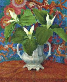 Dora Carrington (English, Flowers in a two-handled vase, Oil on canvas, 20 x 16 in. These are Trilliums. Harlem Renaissance, Art Floral, Garden Painting, Painting & Drawing, Flower Vases, Flower Art, Dora Carrington, Bloomsbury Group, Art Deco