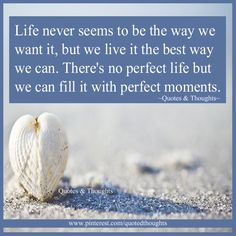Life never seems to be the way we want it, but we live it the best way we can. There's no perfect life but we can fill it with perfect moments.