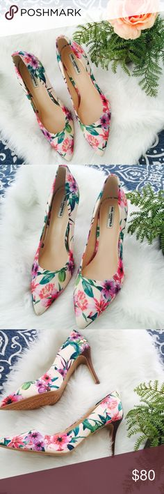 Beautiful floral Karl Lagerfeld pumps  NWOB NWOT In new condition. Only flaw is the right shoe frontal point is somewhat dirty. Not noticeable. Heel height is 3.5 Karl Lagerfeld Shoes Heels